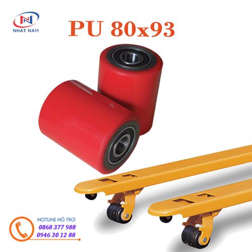 Bánh xe nâng tay PU 80x93mm- Bánh PU đơn đầu càng