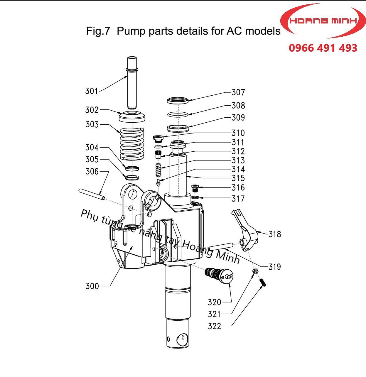 phụ tùng xe nâng tay AC- kiểu bơm AC