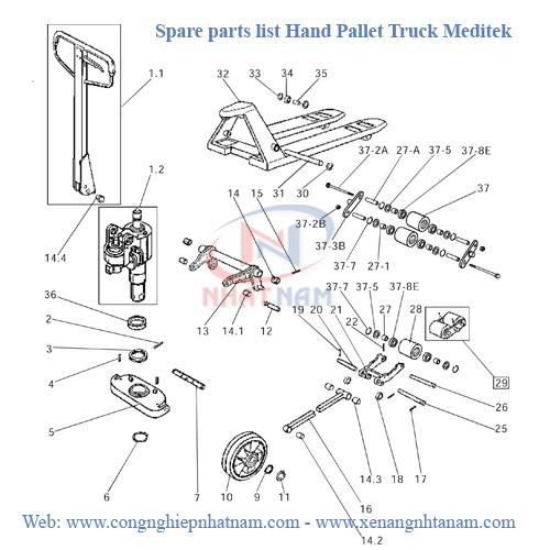 Spare parts list Hand pallet truck Meditek