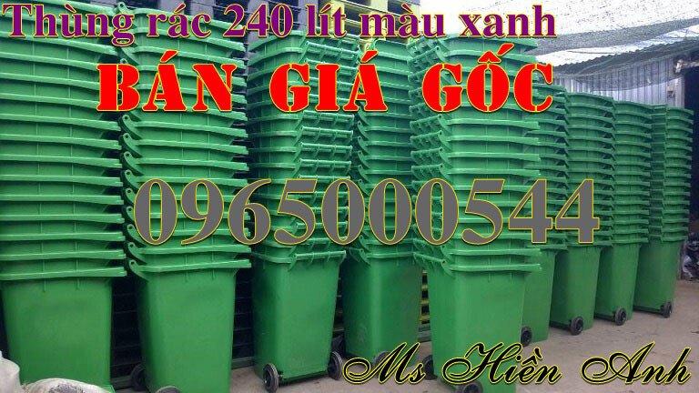 Thùng rác 240 lít màu xanh nhập khẩu