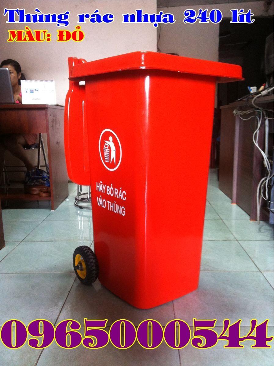 Thùng rác 240 lít màu đỏ