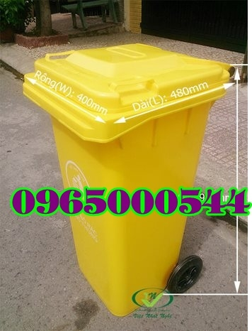Thùng rác 240 lít màu vàng