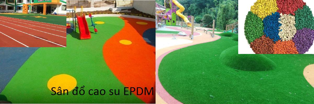 sân đỏ cao su; dùng đổ sân khu vui chơi, sân vườn, công viên màu sắc đẹp, giảm chấn bảo vệ trẻ em, thân thiện môi trường.
