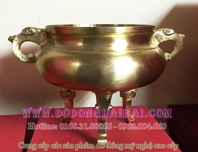 Lư hương đồng đk 15cm, đúc máy tinh xảo bằng đồng vàng, công nghệ hút chân không.