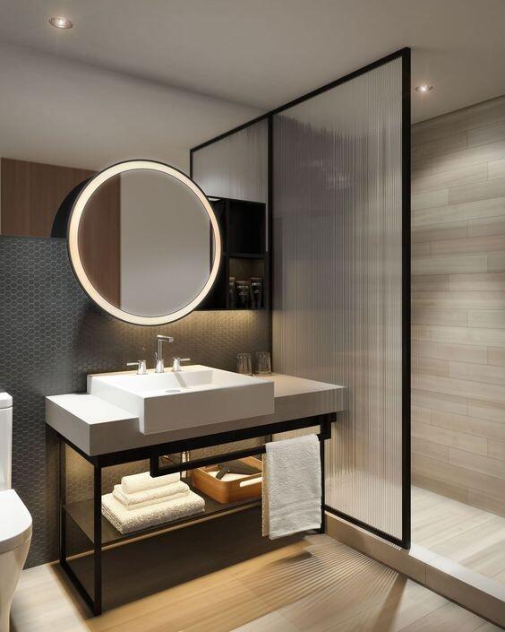 Gương nhà tắm khung inox đèn led hình tròn Citybuilding CBJ A2