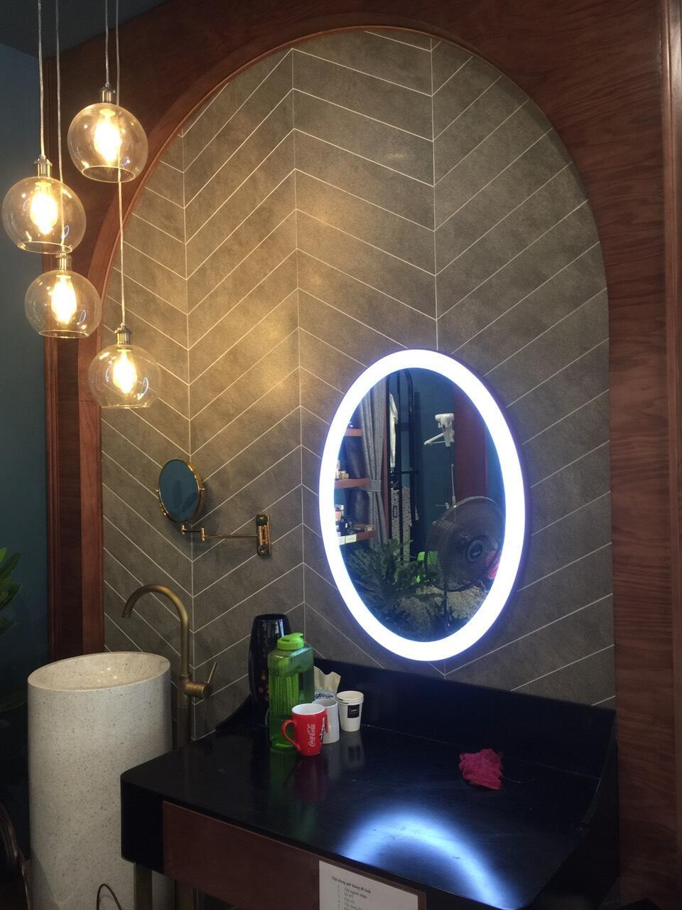 Gương nhà tắm khung inox đèn led hình Elip Citybuilding CBJ A3