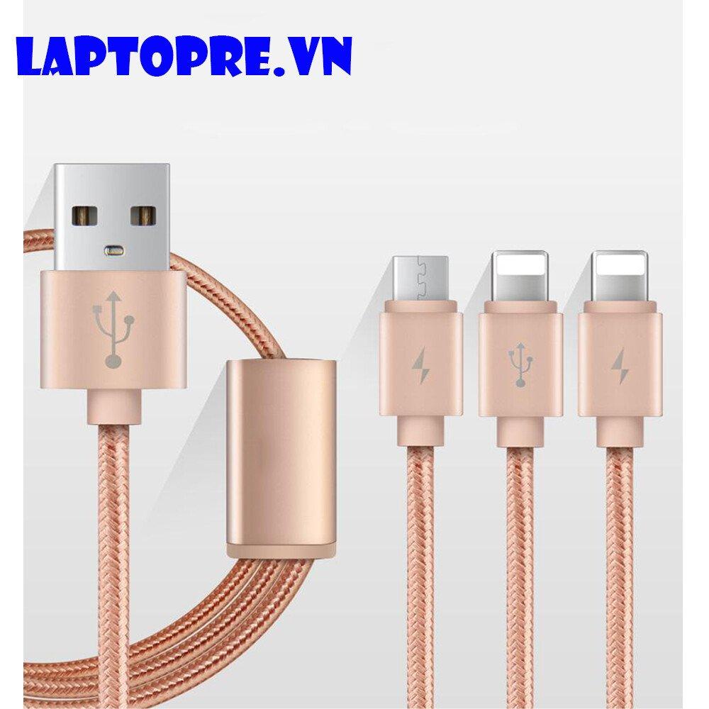 Cáp sạc 3 đầu Micro Phone – USB type C dây dù chắc chắn (hồng)