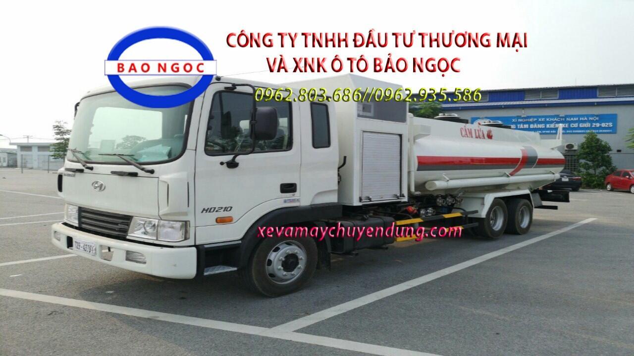 Xe téc chở xăng dầu HYUNDAI HD210 có cột bơm cấp lẻ 13 khối