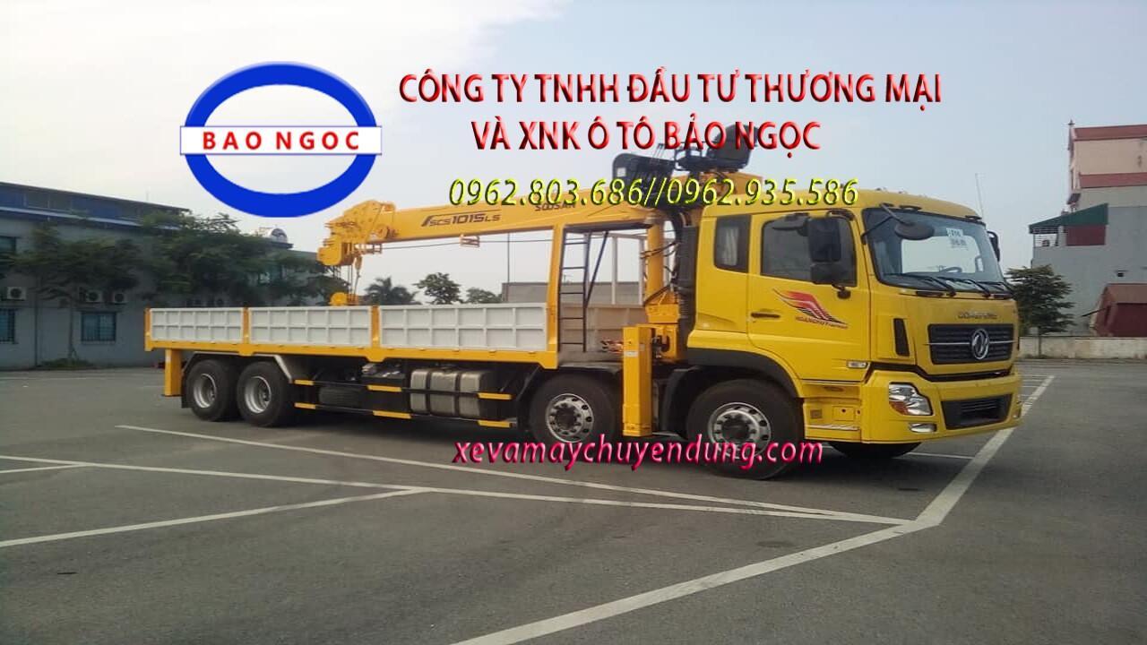 Xe cẩu nâng đầu 4 chân dongfeng gắn cẩu 12 tấn soosan