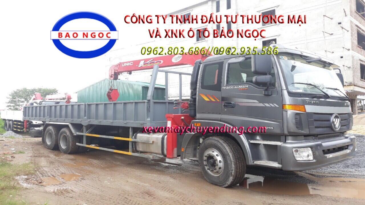 Xe tải thaco auman 3 chân gắn cẩu unic URV 554