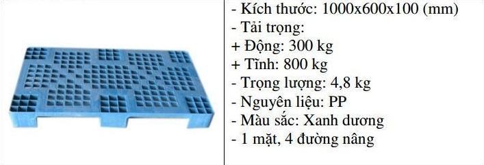 Pallet nhựa 1000x600x100 màu xanh một mặt 800kg - Nhật Bản