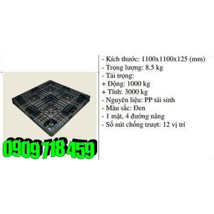Pallet nhựa 1100x1100x125 màu đen một mặt 3000kg - Nhật Bản