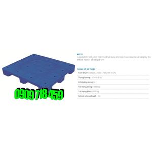 Pallet nhựa 1200x1000x145 màu xanh một mặt kín - Việt Nam