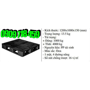 Pallet nhựa 1200x1000x150 màu đen một mặt 4000kg - Nhật Bản