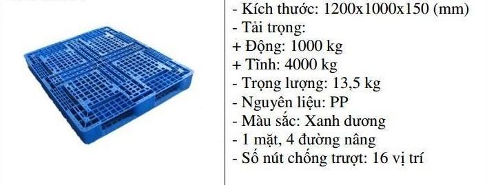 Pallet nhựa 1200x1000x150 màu xanh một mặt 4000kg - Nhật Bản