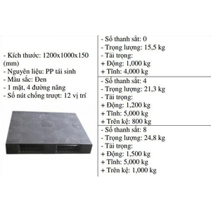 Pallet nhựa 1200x1000x150 màu đen - Nhật Bản