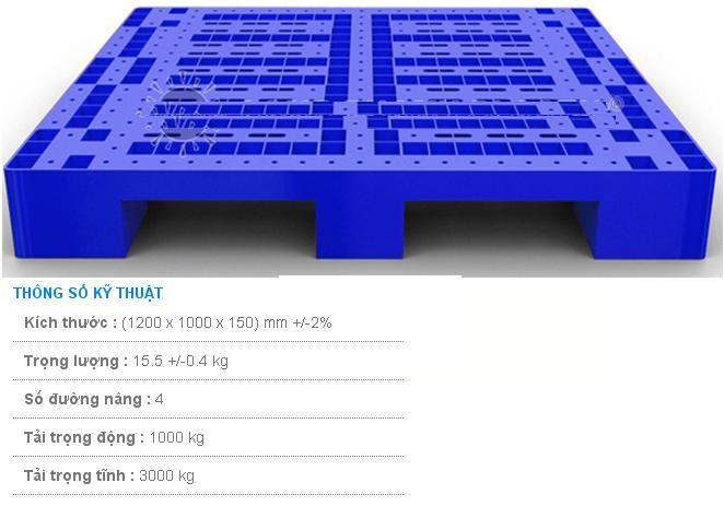 Pallet nhựa 1200x1000x150 màu xanh một mặt 3000kg - Việt Nam
