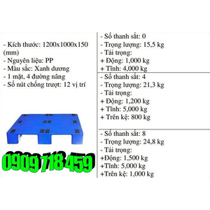 Pallet nhựa 1200x1000x150 màu xanh một mặt - Nhật Bản