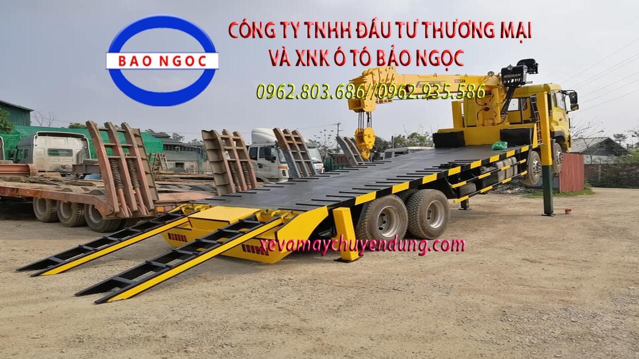Xe tải dongfeng 4 chân gắn cẩu 12 tấn và nâng đầu chở máy