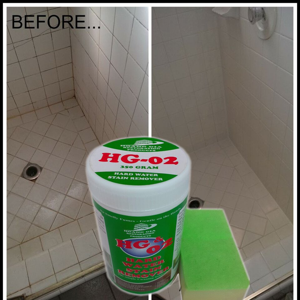 Bột Tẩy mốc rỉ sét cặn phèn trên gốm sứ -HG-02 Hard-Water-Stain-Remover SHOWER 400gr