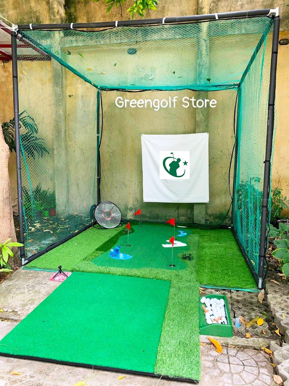 [Combo 05] Khung Tập Golf, Thảm Tập Putt Cao Cấp, Thảm tập Swing, Giỏ tập Chip, Khay đựng Bóng