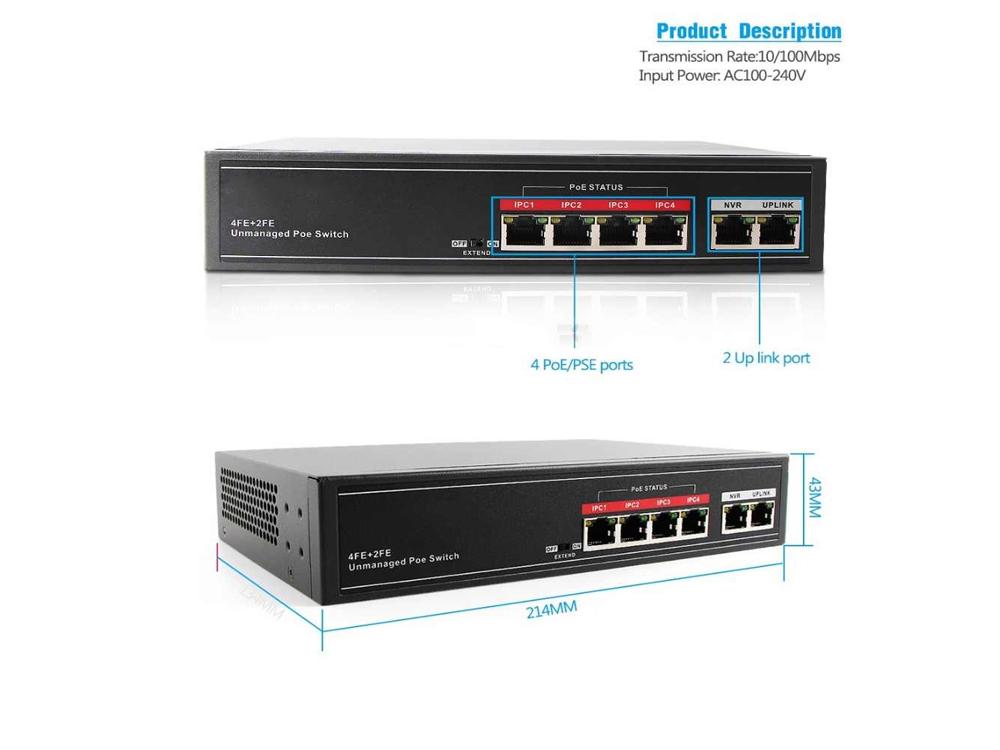 SECUPOE 4-Port Fast Ethernet PoE Switch Support 10/100M with 2-Port FE Network Uplink 802.3af/at Bui