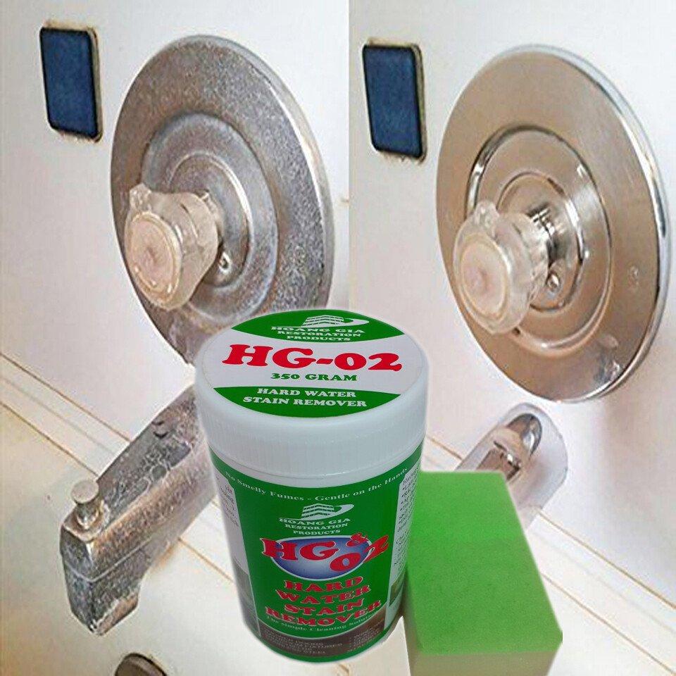 Bột tẩy sạch vòi tắm các thiết bị Inox trong phong tắm HG-02 Hard-Water-Stain-Remover SHOWER 400gr