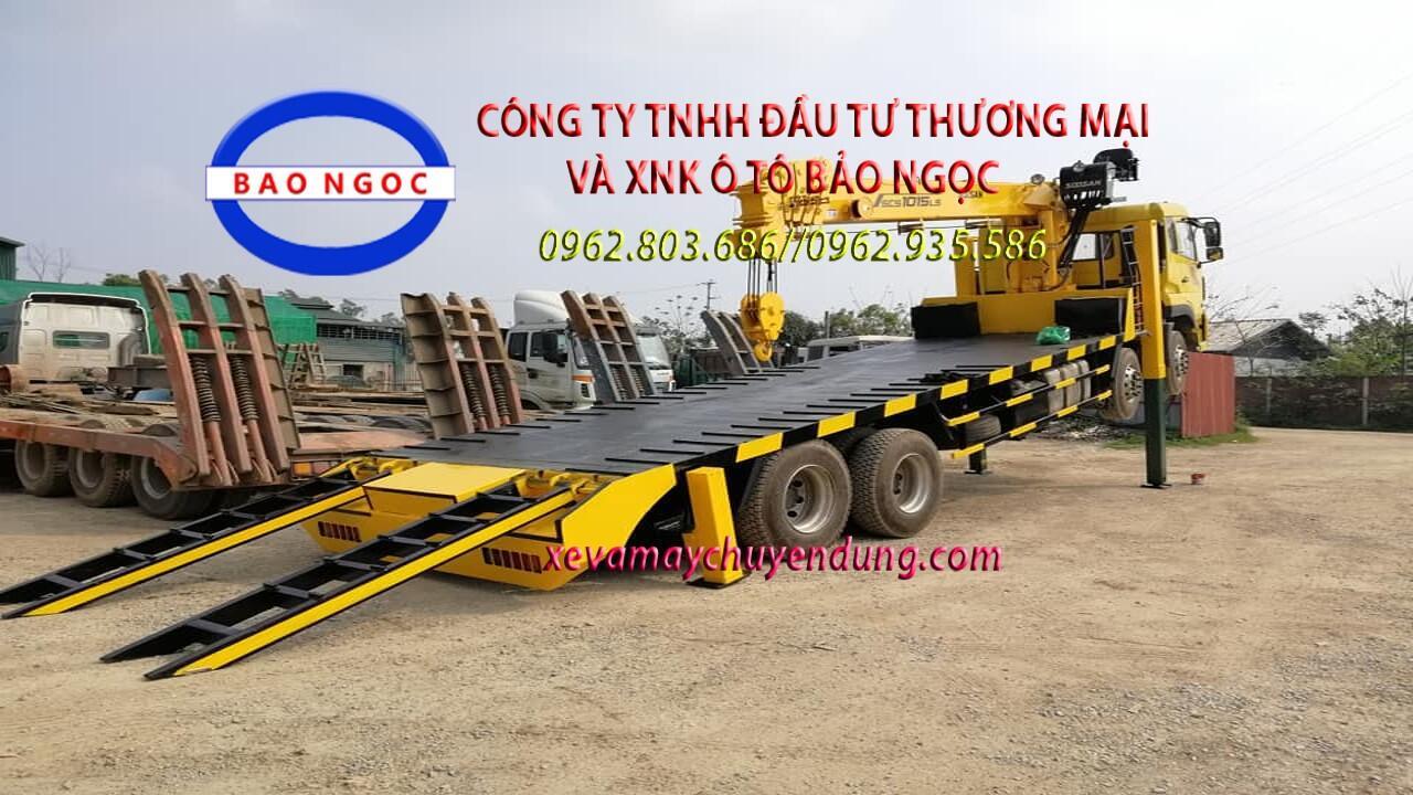 Xe tải gắn cẩu 4 chân 12 tấn và nâng đầu chở máy