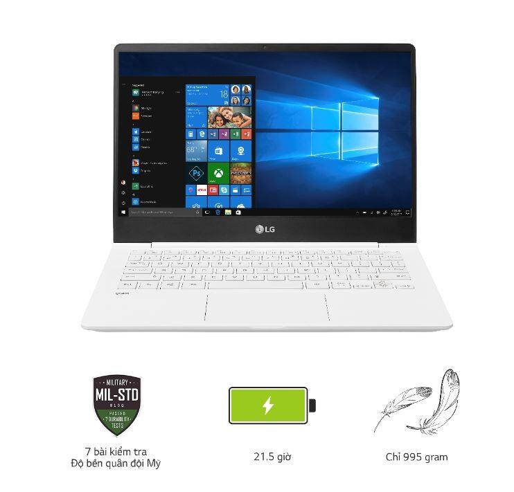 Laptop LG gram 14ZD980-G. AX52A5 (Cpu i5 - 8250U, Ram 8GD4 2400 MHz, 256 G SSD M.2, 14 inch, Trắng