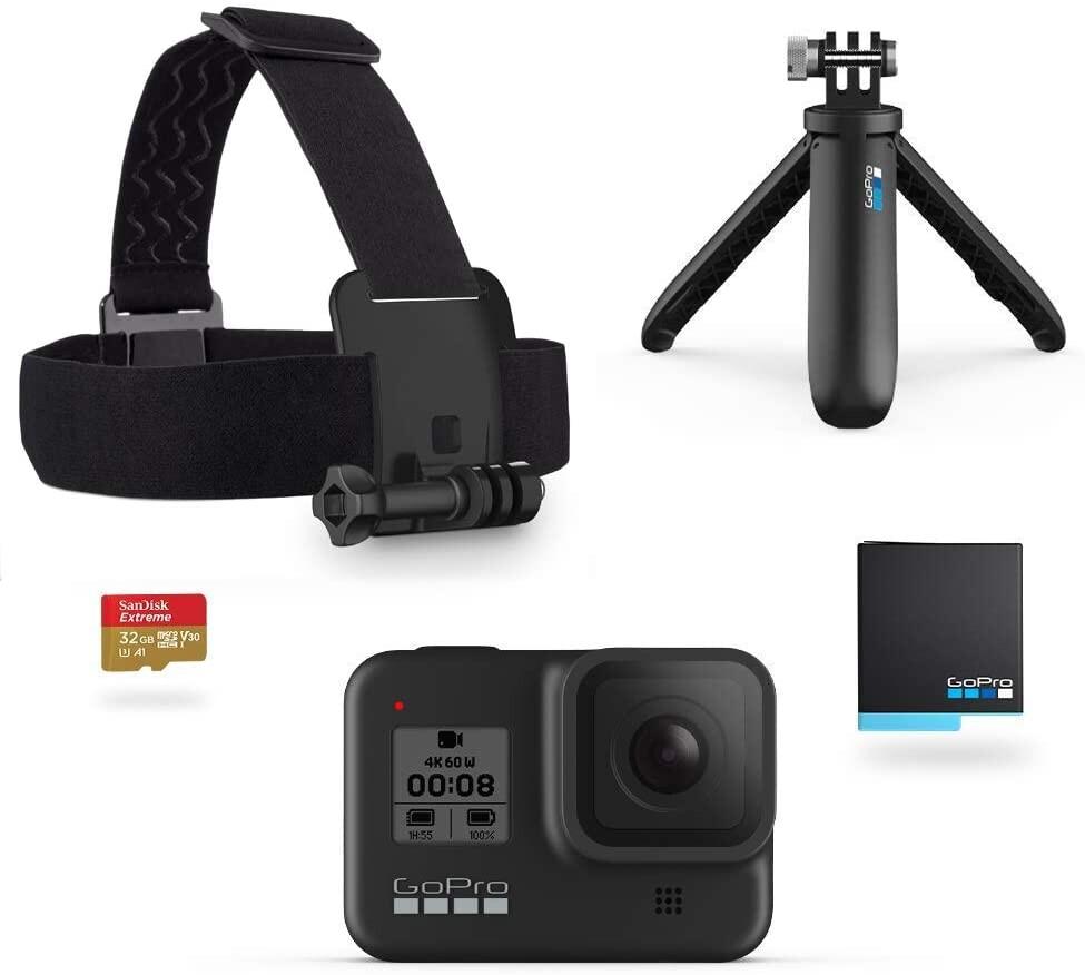 Máy quay GoPro Hero8 Black Holiday Bundle - Includes Hero8 Black Camera Plus Shorty, Head Strap, 32G