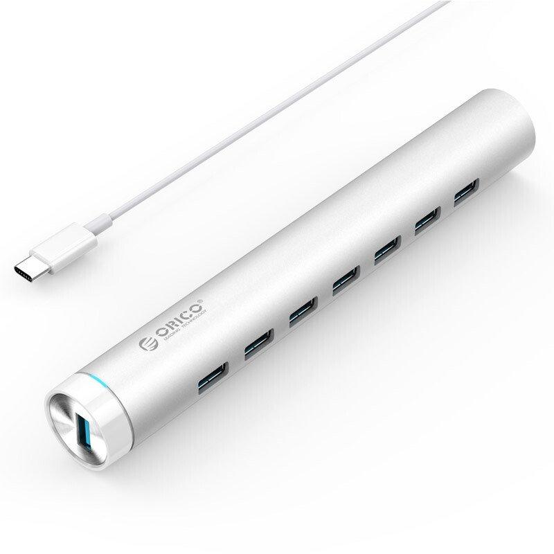 Bộ chia USB HUB 7 cổng USB 3.0 Type C/thiết kế hình tròn,vỏ nhôm sang trọng