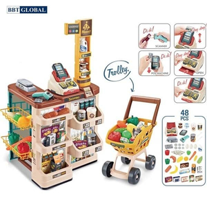 Đồ chơi mô hình BBT GLOBAL - Đồ chơi quầy siêu thị có xe đẩy cho bé - 668-78