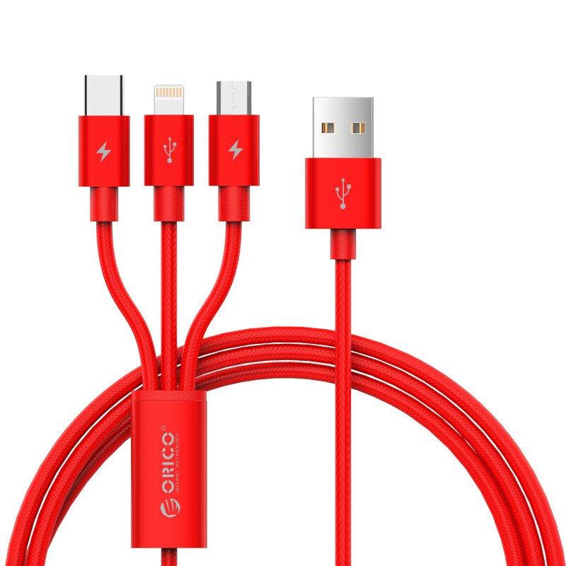 Cáp sạc điện thoại 3 trong 1 Lightning/Type C/Micro B USB 2.0