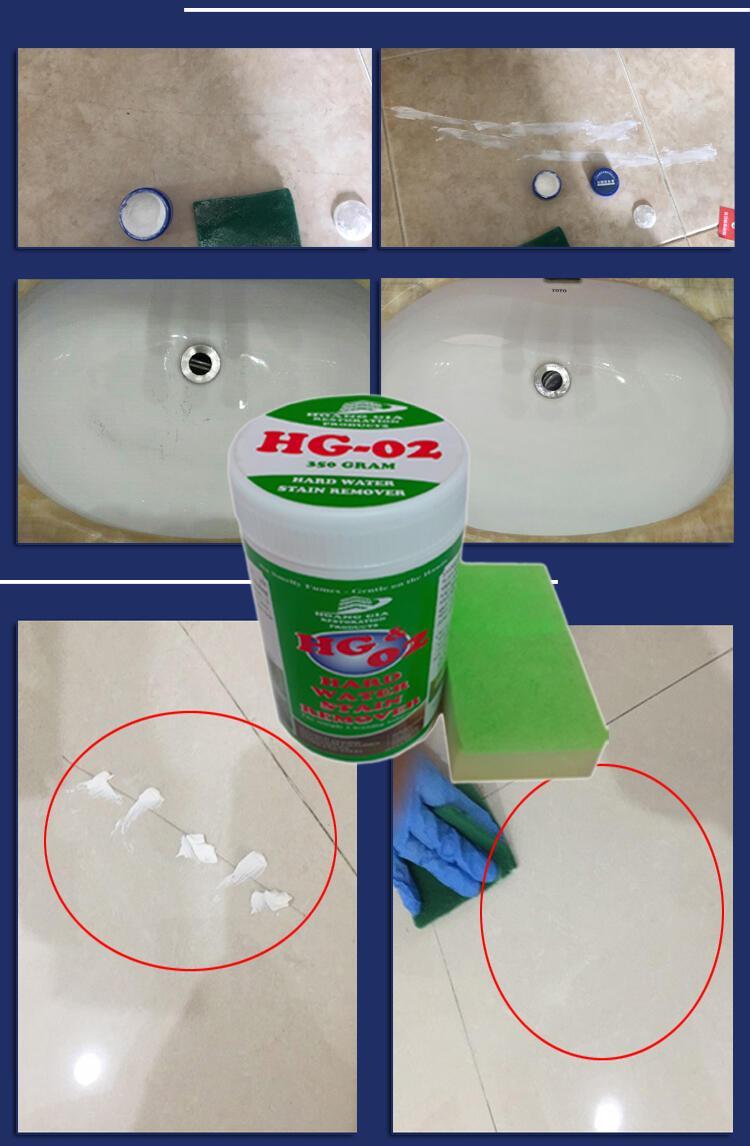 Tẩy vết trầy xước ố đen, rỉ bám trên sàn bằng bột tẩy HG02 STAIN HANDWATER REMOVE