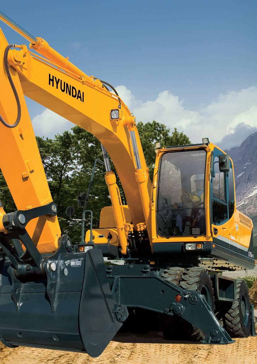 Máy đào Hyundai bánh lốp gầu 0.76 m3 R170W-9S