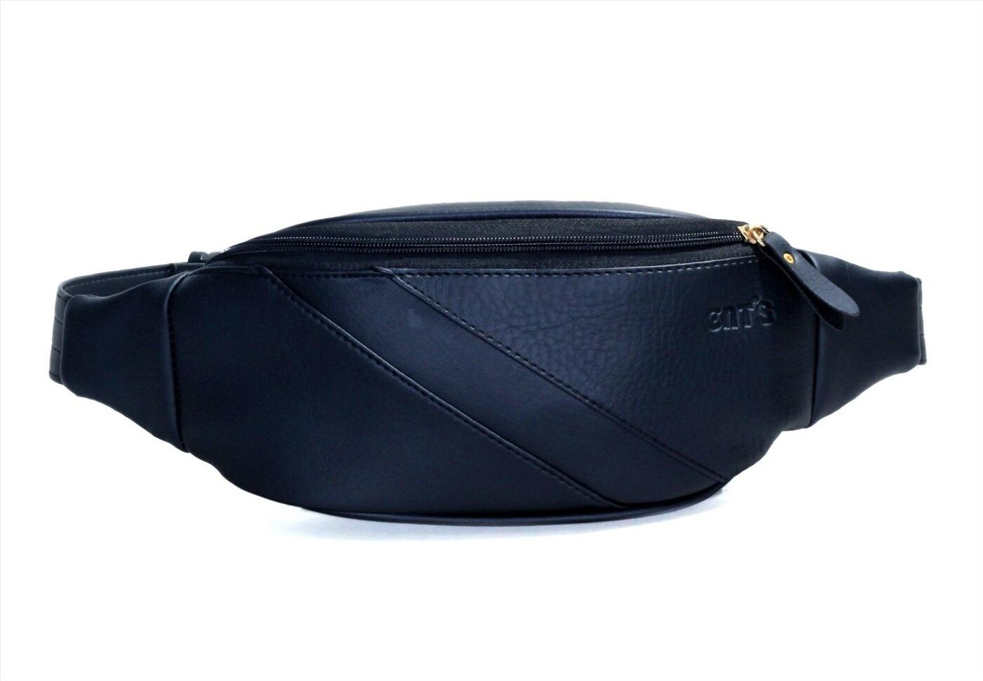 Túi da đeo ngực CNT unisex TĐX40 cá tính Đen
