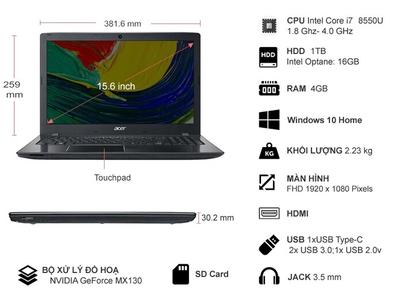 Acer Aspire E5-576G-88EP   Core I7-8550U   HDD 1TB   VGA rời MX130 2G   15.6'' FHD   Mới 100%