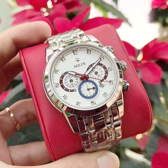 Đồng hồ Aolix al 7049g - Dây thép trắng mặt trắng