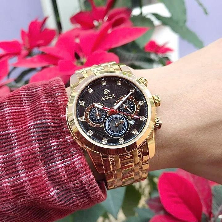Đồng hồ nam chính hãng Aolix al 7049g - Dây Vàng Mặt Đen