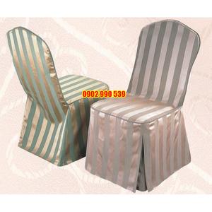 Áo ghế nhà hàng vải gấm sọc