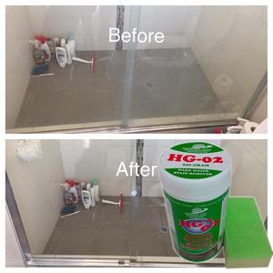 Bột Tẩy mốc cặn phèn canxi trên buồng tắm kính -HG-02 Hard-Water-Stain-Remover SHOWER 400gr