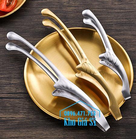 Kẹp gắp thức ăn kiểu Nhật bằng inox 304 mạ vàng cao cấp