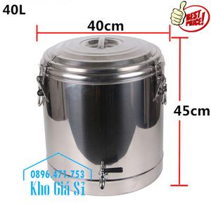 Thùng inox cách nhiệt 40 lít - 1 vòi có nắp đậy kín đựng nước uống