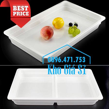 Khay melamine trắng 1/1 chiều cao 6.5cm trưng bày trái cây, thức ăn buffet