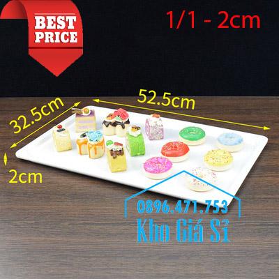 Khay melamine chữ nhật màu trắng 1/1 cao 2cm trưng bày bánh ngọt
