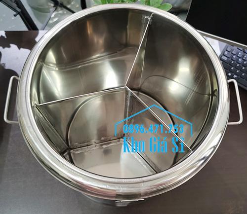 Thùng inox giữ nhiệt 3 ngăn bảo quản thức ăn nấu chín dung tích 50 lít