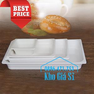 Khay melamine chữ nhật 1/1 cao 4cm trưng bày thức ăn siêu thị