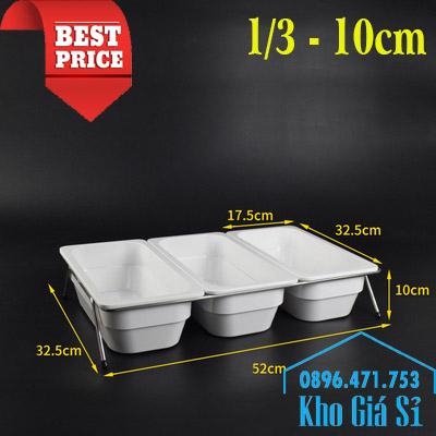 Khay melamine 1/3 - 10cm màu trắng đựng trái cây, salad, đồ ăn tiệc buffet