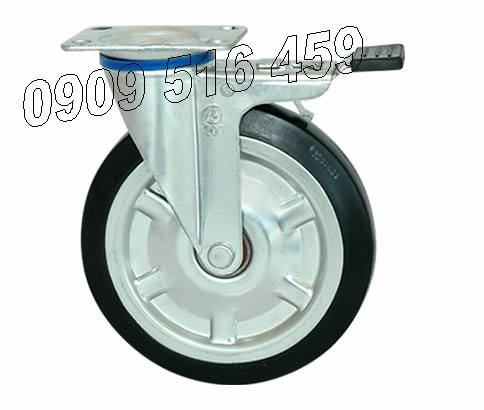 Bánh xe đẩy cao su thép- di động-khóa 75kg