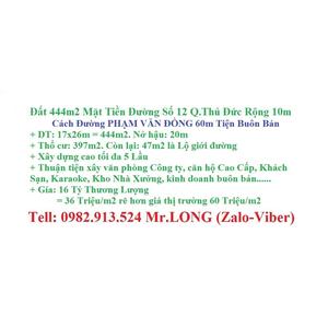 Đất 444m2 Giá 36 Triệu/m2 Mặt Tiền Đường Số 12 Q.Thủ Đức Cách Phạm Văn Đồng 60m Tiện Buôn Bán